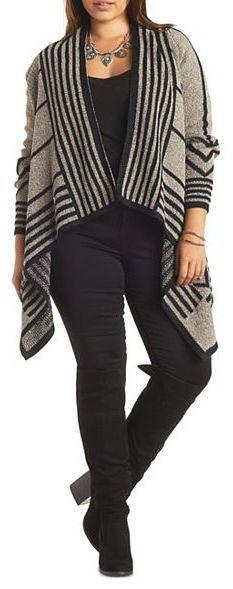 Plus Size Chevron Pattern Cascade Cardigan