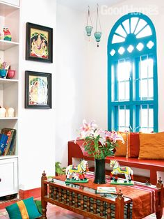modern indian living room with ethic furniture and decoration ...