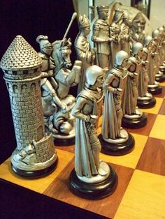 """MEDIEVAL Chess Set """"Antiqued bronze & pewter look"""" so Email before ordering Wood Router, Wood Lathe, Cnc Router, Router Woodworking, Medieval, Chess Set Unique, Wood Turning Projects, Wood Projects, Auction Projects"""