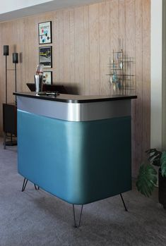 Bar mid century modern home bar, reception desk, front desk, stand alone vintage retro style boomerang design with right bend, made to order Danish Modern, Mid-century Modern, Bridal Boutique Interior, Modern Wall Sculptures, Atomic Decor, Mid Century Exterior, Modern Home Bar, Retro Desk, Mid Century Bar
