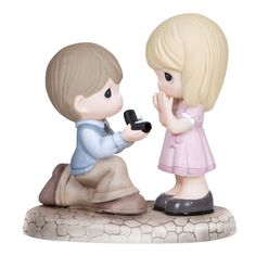 Precious Moments ''Will You Marry Me'' Boy Proposing to Girl Figurine, Multicolor