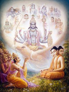 The Narayana Kavacham is revealed by Trisiras to the demigods headed by Indra Shri Hanuman, Shree Krishna, Krishna Love, Krishna Art, Indian Gods, Indian Art, Krishna Mantra, Bhagavata Purana, Lord Krishna Wallpapers