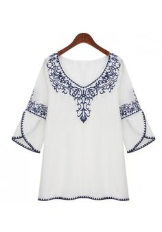 Shop ROMWE Embroidered Cropped Sleeves White Blouse at ROMWE, discover more fashion styles online. Modele Hijab, Fashion Corner, Shirt Blouses, Shirts, Blouse Dress, Embroidered Blouse, Ethnic Fashion, Dress To Impress, Blouses For Women