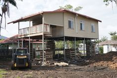 With the house raised the stiles are removed. House Lift, Raised House, Queenslander, Stiles, Shed, Outdoor Structures, Cabin, House Styles, Home Decor