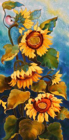 """Sunflowers"" by Yelena Sidorova - Silk painting"