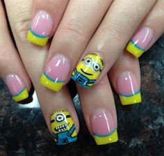 Minion nail design by Pinky - Nail Art Gallery nailartgallery.nailsmag.com by Nails Magazine www.nailsmag.com #nailart