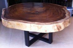 Live Edge Dining Table Reclaimed Acacia Wood Large von flowbkk