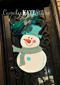 Chevron Snowman Wooden Door Hanger - Tan and Light Blue / Aqua, Christmas Decoration accented with chevron and deco mesh ribbon. Personalized Free!