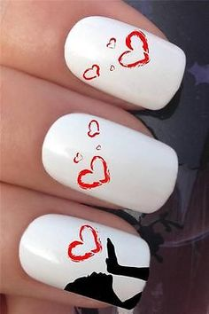 water nail transfers girl blowing love hearts tattoo decals stickers 618
