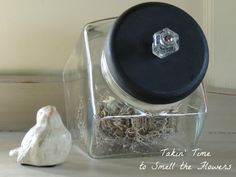 Farmhouse Glass Canister with Black Wooden lid and Glass Knob on Etsy, $25.00
