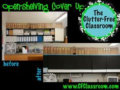Cover any open shelves (meaning shelves and cabinets that lack doors) to hide the visual clutter.