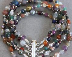 Everything Under the Sun 5 Strand Gemstone Bracelet : Jasper, Agates, Amethyst, Garnet, Lapis, Pearl, Swarovski Crystal & Sterling Silver - Edit Listing - Etsy