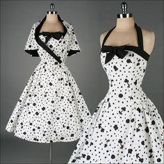 vintage 1950s dress . black white cotton . by millstreetvintage, $245.00