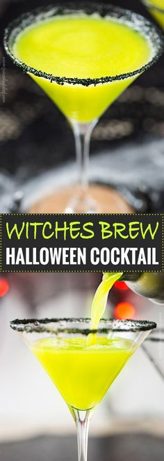 Witches Brew Halloween Cocktail   Sweet and mysterious, this Halloween cocktail practically glows with an eerie greenish color! Made with just 3 simple ingredients, it's a must make for any party!   https://www.the5oclockchef.com   #cocktail #halloween #witch #partydrink #midori