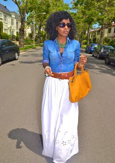 great spring casual outfit! denim shirt with flowy white maxi skirt add pop of color bag/belt