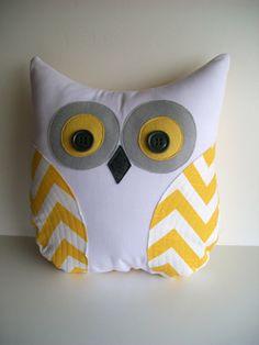 chevron owl pillow, decorative yellow and white chevron owl, autumn decor, unisex, grey and yellow chevron owl for nursery, READY TO SHIP. $38.00, via Etsy.