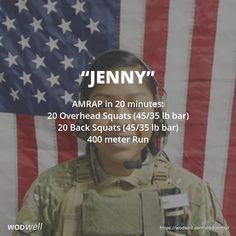 """""""Jenny"""" WOD - AMRAP in 20 minutes: 20 Overhead Squats (45/35 lb bar); 20 Back Squats (45/35 lb bar); 400 meter Run"""