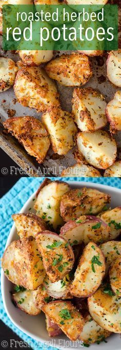 Herbed Red Potatoes: A quick and easy recipe for crisp and flavorful potatoes that go well with with any meal of the day.Roasted Herbed Red Potatoes: A quick and easy recipe for crisp and flavorful potatoes that go well with with any meal of the day. Side Dish Recipes, Vegetable Recipes, Yummy Recipes, Cooking Recipes, Yummy Food, Cooking Tips, Cheap Recipes, Tasty, Recipes Dinner