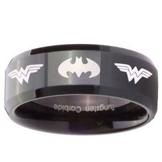 Tungsten Batman & Wonder Woman Black Pipe Cut Engraved Ring ( 5mm Sz 4 to 9, 8mm, 10mm Sz 7 to 14 ) by customjewelry14 on Etsy https://www.etsy.com/listing/182375352/tungsten-batman-wonder-woman-black-pipe