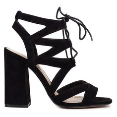 Black multistrap sandal with laces ❤ liked on Polyvore featuring shoes, sandals, heels, kohl shoes, black suede shoes, black block heel shoes, suede sandals and black sandals
