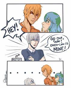 Sun-Kun can't you just share Earth-Chan lol. Fan Art, Stupid Funny Memes, Hilarious, Earth Sun And Moon, Space Anime, Planet Comics, Earth Memes, Anime Galaxy, Anime Version