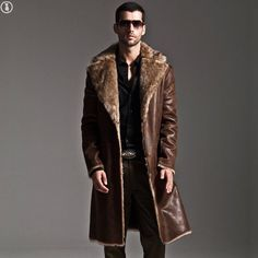 Mens Long Full Length Faux Fur Leather Coats Luxury Parkas Blazer Winter Fashion in Clothes, Shoes & Accessories, Men's Clothing, Coats & Jackets | eBay