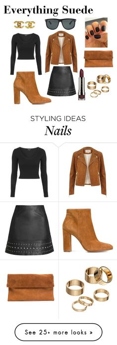 """""""Everything Suede Style"""" by rachel-stephany on Polyvore featuring Gianvito Rossi, River Island, Topshop, LORAC, Chanel, Ray-Ban, Apt. 9 and modern"""