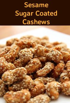 Sesame Sugar Coated Cashews. I've been making variations of my recipe for a long time, switching the cashews for walnuts, pecans, peanuts, really, you can use whatever nuts you enjoy. The combination of the sweetness from the sugar, together with the salty and spicy really is quite lovely! You can be very flexible with the quantities of spices, so if you wanted a hotter version, you can simply add more cayenne pepper, or indeed, leave it out all together. Feel free to play around and expe...