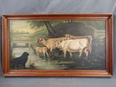 Antique PRIMITIVE Folk Art FARM DOG & COWS Old CATTLE in STREAM Oil PAINTING #OutsiderArt