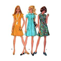 """1970's A-Line Knee Length Dress Sewing Pattern, Sleeveless or Short Sleeves Misses Size 14 Bust 36"""" Uncut Vintage 70's McCall's 2545"""