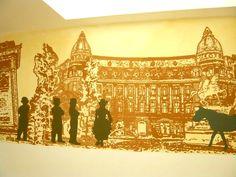 """Bucurestiul interbelic""- pictura murala posterizata in Restaurantul Burebista - Coloranda Mural Art, Art Projects, Vintage World Maps, Photoshop, Deco, Art Designs, Wall Art, Mural Wall Art, Decor"