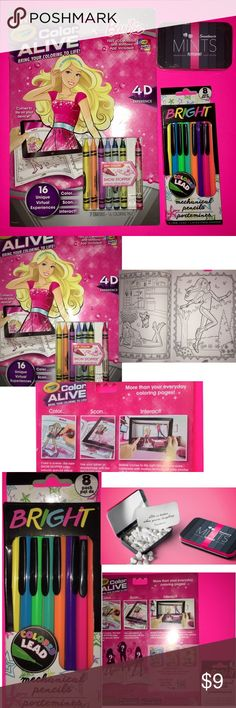 NEW barbie 4D COLOR BOOK 8 COLORED PENCILS & MINTS -NEW BARBIE 4D CRAYOLA COLORING BOOK WORKS WITH IOS, ANDROID & WINDOWS APP INCLUDED! 7 crayons ,16 coloring pages. -NEW 8 MECHANICAL COLORED Pencils  -NEW SWEETHEART MINTS PEPPERMINT TIN WITH BUILT IN MIRROR!  peppermints currently thinnest tin on market and fits easily in a purse or pocket.  In keeping with the famous Sweethearts brand, these mints are a micro version of the iconic heart-shaped candies. Each tin comes with an inspirational…