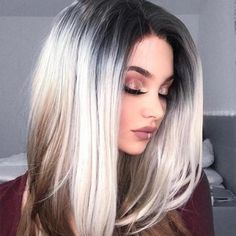 Short Bob No Lace wig Straight Grey Ombre Synthetic Hair Wigs Fashion – wigsiu Brown Ombre Hair, Ombre Hair Color, Blonde Ombre, Hair Color Balayage, Blonde Balayage, Blonde Highlights, Grey Ombre, Haircolor, Auburn Balayage