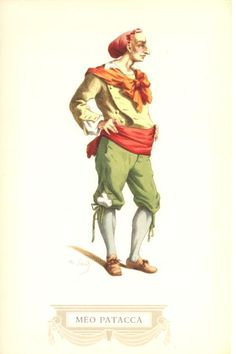 Meo Patacca è la maschera romana, che assieme a quella di Rugantino, rappresenta il coraggio e la spavalderia di certi tipi di Trastevere, il quartiere più popolare di Roma. Spiritoso ed insolente, Meo Patacca é il classico bullo romano, sfrontato ed attaccabrighe, esperto ed infallibile tiratore di fionda, ma in fondo, generoso e di animo aperto.