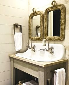 Like the rustic look of these two rope mirrors for a cabin