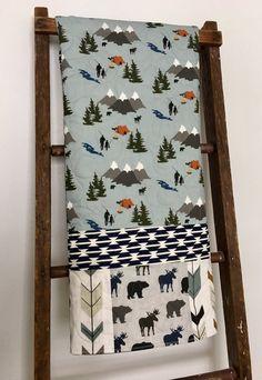 Baby Quilt, Baby Bedding Camping, Boy Nursery Fishing, Baby Blanket Boy, Crib Be… - Modern Quilt Baby, Baby Bedding, Crib Mattress, Crib Sheets, Fishing Nursery, Baby Boy Room Decor, Baby Room, Kindergarten, Baby Fish