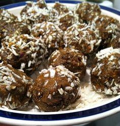 Peanut Butter Goo Balls w/ dates, chia seeds, wheat bran, bee pollen, etc.