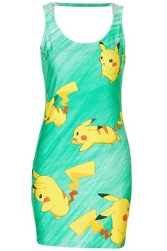 Cut-out Pikachu Print Green Dress by Romwe #pokemon  [ I can't rock dresses, but some of you other gals absolutely can ]
