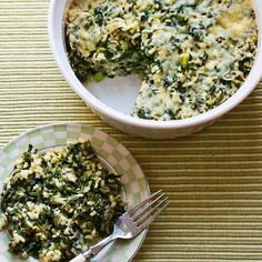 Love this recipe for Spinach and Feta Casserole with Brown Rice and Parmesan; perfect for #MeatlessMonday!  [from KalynsKitchen.com]
