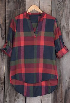 $23.99 Only with free shipping&easy return! Somebody who plays with fire will get burnt. Really? This fire-like plaid top is detailed with v-neck&high low design! Try it at Cupshe.com