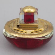 Red Glass Deco Inkwell With Square Top - Red glass inkwell with brass fittings. Circa: 1930