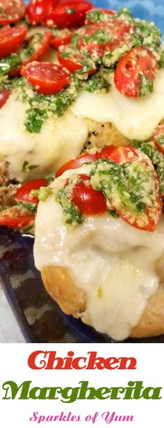 Chicken Margherita. Kinda like the Margherita pizza, same fresh and simple ingredients, only on top of a chicken breast instead of a pizza. An easy lemon, garlic and basil pesto topped with ripe cherry tomatoes turns an average chicken breast into a delightful summer dinner. #dinnerideas #maindish #chicken #Italianfood #basil #tomatoes via @sparklesofyum Chicken Margherita, Margherita Recipe, Basil Pesto, Duck Recipes, Chicken Recipes, Veggie Recipes, Cherry Tomatoes, Lean Protein Meals, Healthy Meals