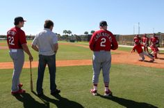 current manager Mike Matheny, and former managers Tony La Russa and Red Schoendienst watch as catchers practice a different way of applying tags at home plate that is designed to reduce collisions at the Cardinals spring training  2-17-14