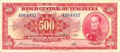 Pieza bbcv500bs-ba01-a6 (Anverso). Billete del Banco Central de Venezuela. 500 Bolívares. Diseño B, Tipo A. Fecha Enero 21 1943. Serie A6