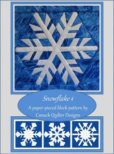 Enjoy snow withhout the cold and shoveling by paper-piecing this delicate snowflake block. Paper-piece as many as 4 different versions of this block from a single paper-piecing template set by carefully selecting colour placement. Pattern includes a colou...