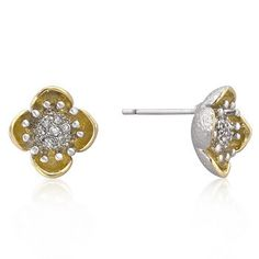 Tutone Floral Bloom Earrings