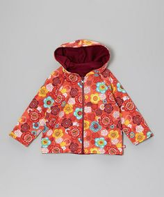 Take a look at this Mandarin Orange Floral Reversible Zip-Up Hoodie - Toddler by Zutano on #zulily today!