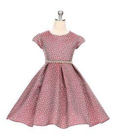 4c60cc990a7 Good Girl Burgundy Floral Pearl Belt Cap-Sleeve Dress - Toddler   Girls.  Toddler Girl DressesFlower ...