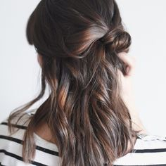 "treasuresandtravels: ""A simple, effortless hair tutorial is up on the blog today // http://treasuresandtravelsblog.com/blog/2015/2/18/hair-tutorial-half-up-knot """