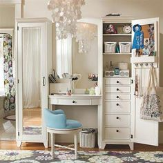 Feminine Girls Dressing Room Furniture with Vintage Style Furniture in White, Interior & Decoration, pixels My New Room, My Room, Girl Room, Home Design, Home Interior Design, Design Ideas, Design Art, Design Inspiration, Girls Dressing Room